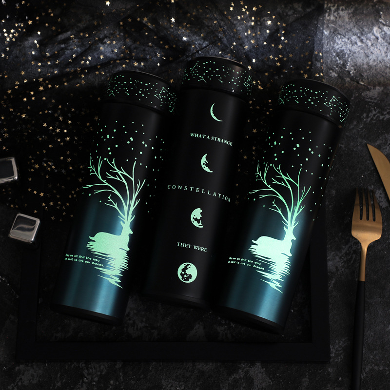 New Product 2019 Stainless Steel Glow in Dark Thermos Bottle Night Luminous Stainless Steel Tumbler