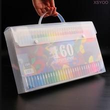XSYOO 160 карандашей чехол на плечо рюкзак из искусственной кожи большой емкости Сумочка для ручек и карандашей чехол для цветных карандашей то...(Китай)
