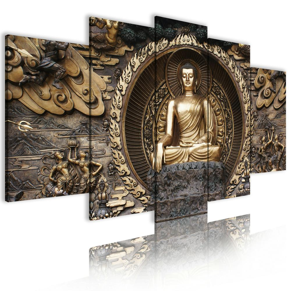 Buddha Religious Decor Wall Art Prints Oil Paintings Abstract Canvas Poster Decorative Picture 5 Piece Painting