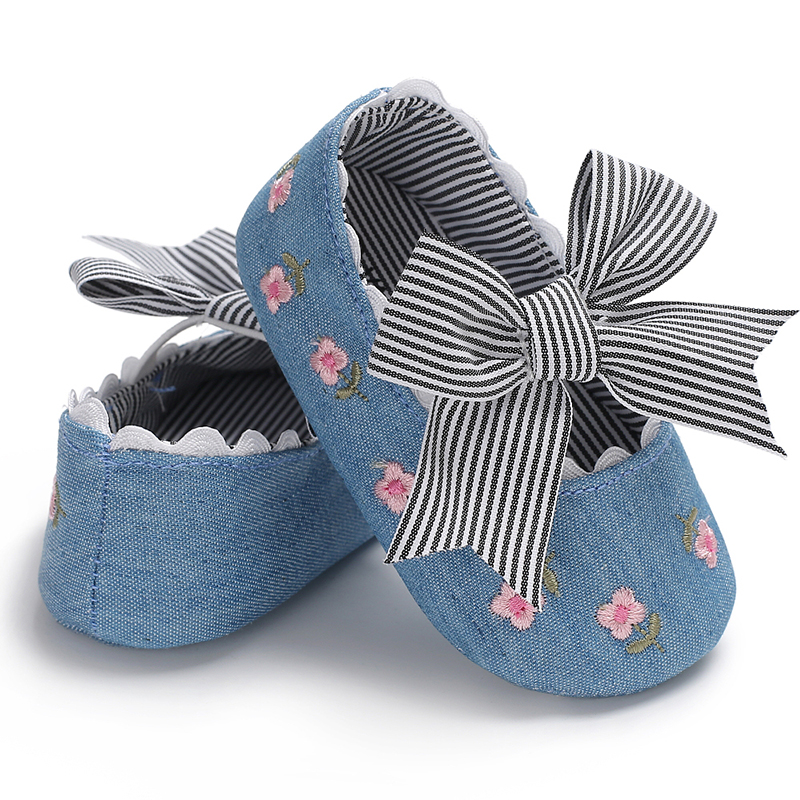 Lovely Cotton sole Flower print with bowknot Ballet dress baby girl shoes