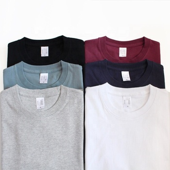Wholesale Plain soft basic white shirt mens tshirt heavy thick 100% cotton 265gsm many color black t shirt for men and unisex