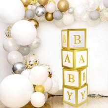 Heißer Verkauf Baby Shower <span class=keywords><strong>Party</strong></span> Dekorationen baby dusche ballon blöcke Gold Ballon Bogen Girlande Kit DIY Transparent Ballon Box