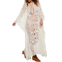 Summer woman bat sleeve transparent see through cover up white mesh hollow out lace beach maxi sexy beach party wear long dress