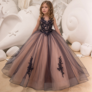 2019 In stock fancy little girls lace dresses puffy party dresses for kids long ball gown flower girls dresses