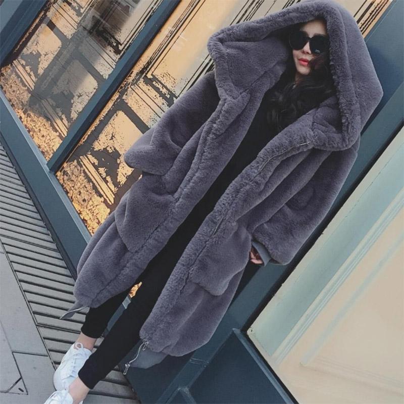 ฤดูหนาว WARM hooded ขนาดใหญ่ขนาดความยาวปานกลางสีทึบขนสัตว์และขนสัตว์ Faux ผู้หญิง 2019 ใหม่ลำลองยาวเสื้อ \ \ \ \ \ \ \ \ \ \ \ \ \ \ \ \ \ เสื้อขนสัตว์