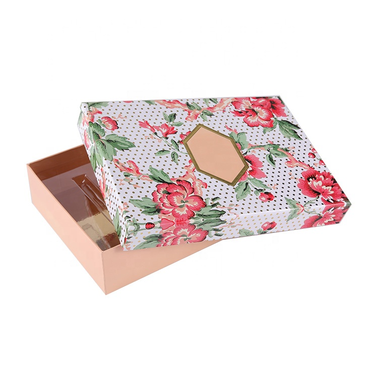 Custom printing beauty makeup cosmetic set skin care paper gift box packaging with lid