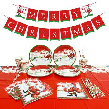 Christmas Party Supplies Beautiful Party Decors Disposable Tableware -Serves 16
