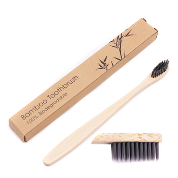 CE Approved Teeth Whitening ECO-friendly 100% Biodegradable Natural Bamboo Carbon Charcoal Bristles Bamboo Toothbrush With Box