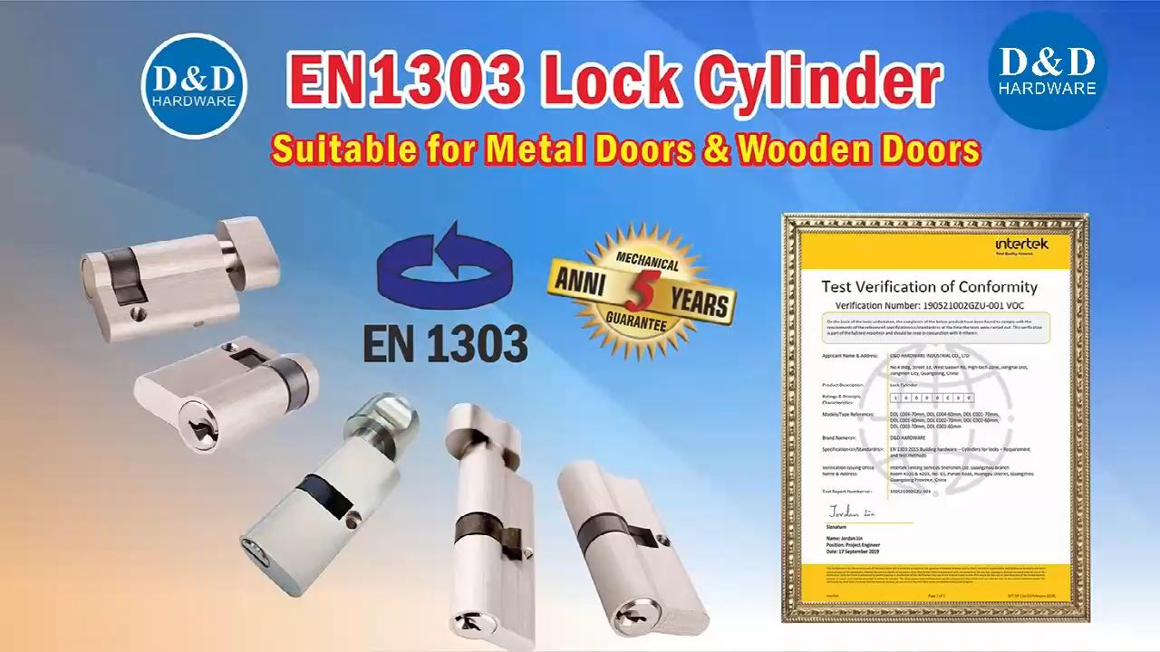 Euro Profile BS EN 1303 Fire Ratedทองเหลืองคู่กระบอกสำหรับMortise Sash Lock