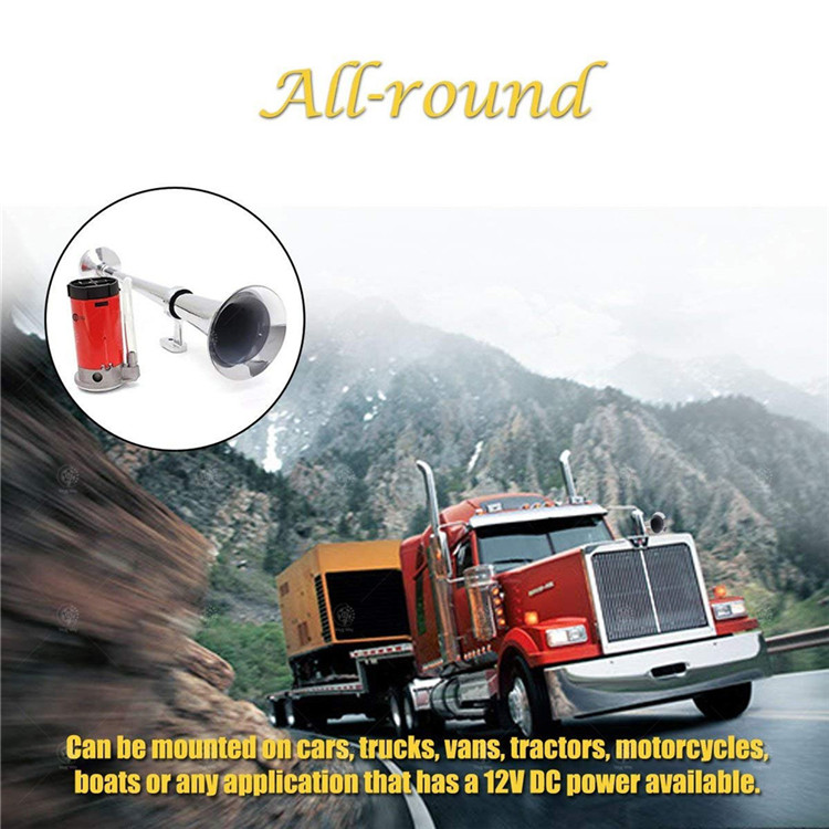 Professional Chrome Compressor 150db 12V Air Horn Premium Whistle 450mm Single Tube Trumpet Air Horn for Truck Lorry Boat