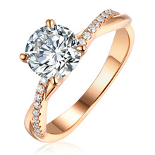 Commercio all'ingrosso 18K Rose Gold <span class=keywords><strong>Moissanite</strong></span> <span class=keywords><strong>Anello</strong></span> <span class=keywords><strong>di</strong></span> Fidanzamento Con <span class=keywords><strong>Diamante</strong></span> 1carat 6.5 millimetri jewelryrose <span class=keywords><strong>moissanite</strong></span> pietre