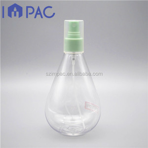 Bulb shape clear pet air freshener bottle with fragrance spray pump