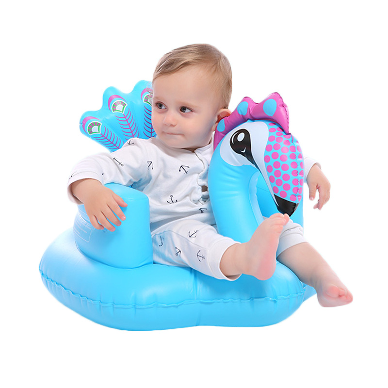 2020 Cheap Product PVC Peacock Baby Inflatable Sofa Seat Chair Bath Stool Ride on Animal Inflatable Toy With Music