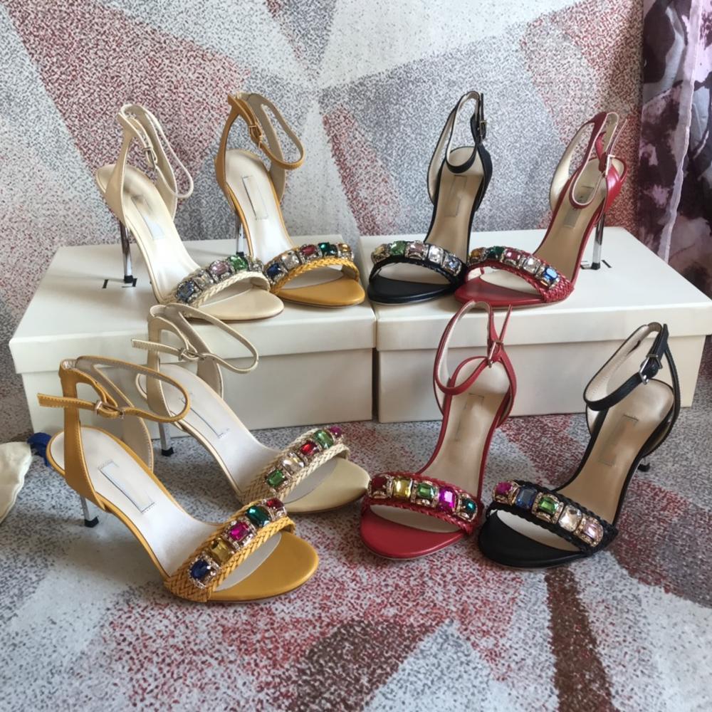 Customized High Quality Luxury Brands Summer Thin High Heel Slippers Women Sandals