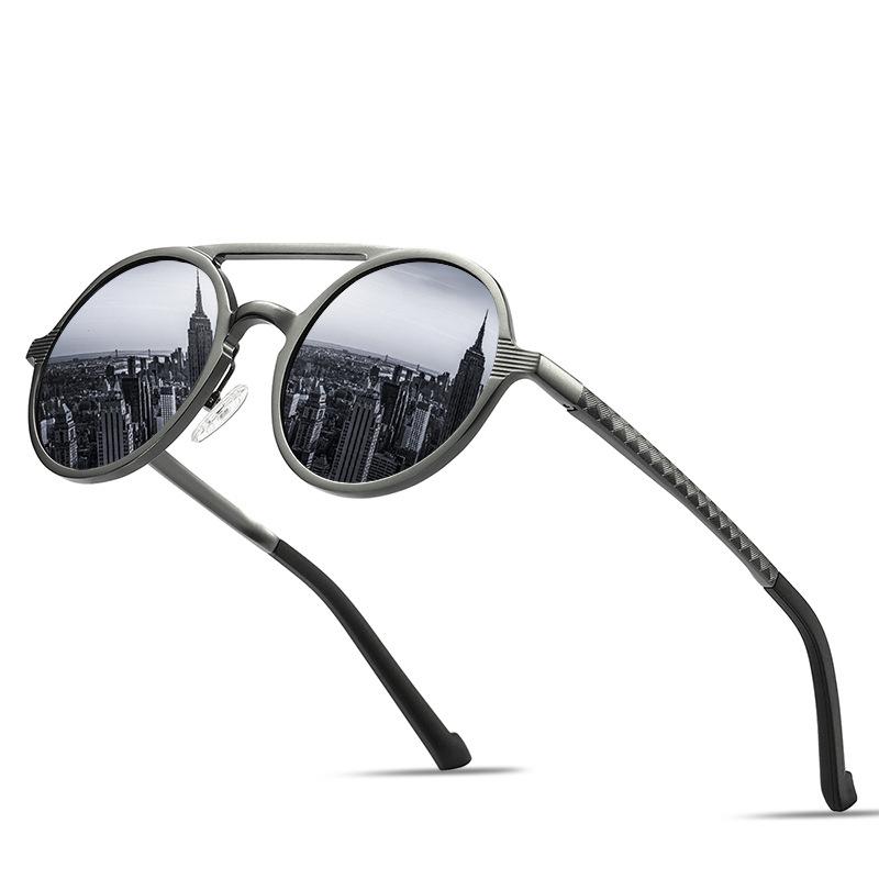 Wholesale Custom Logo Sun Glasses 2019 Vintage Round Style Double Bridge Aluminum Magnesium Polarized Sunglasses For Men