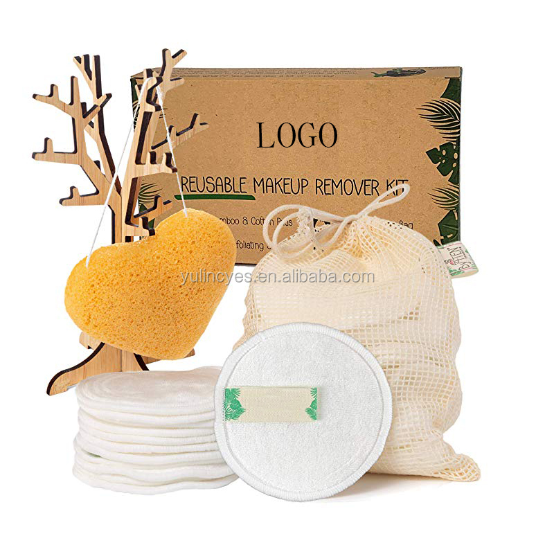 High Quality OEM Custom Organic Reusable  Washable Bamboo  Cotton Makeup Remover Face Pads