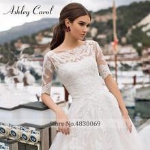 Платье для свадьбы с коротким рукавом и аппликацией на шнурках Ashley Carol A Line, 2020(China)