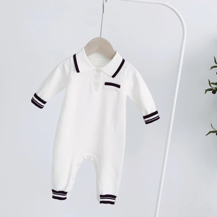 Wholesale infant toddlers clothing collar knitted baby romper