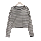 Fashion Autumn 100% Cotton Full Sleeve Tight Fit Lady Yarn Dyed Striped Crop Tops T-shirt