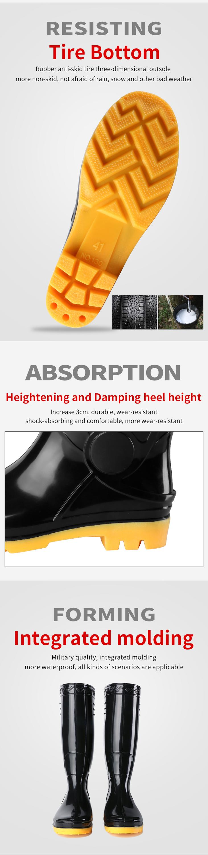 Good Quality Design Your Own Pvc Glitter Black Long Shoe Clear Waterproof for Men Rain Boots