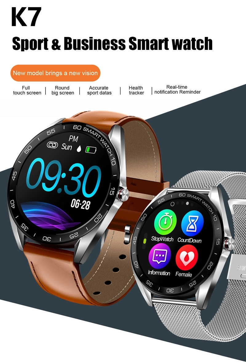 "K7 IP68 Waterproof Smart Watch 1.3"" Big Touch Screen Fitness Tracker Sport Smartwatch 2019"