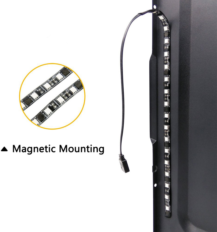 RGB 30cm 18LEDs IP65 Waterproof 12V LED Strip Light with 6pcs Magnetic and Adhesive Tape for PC Computer Case