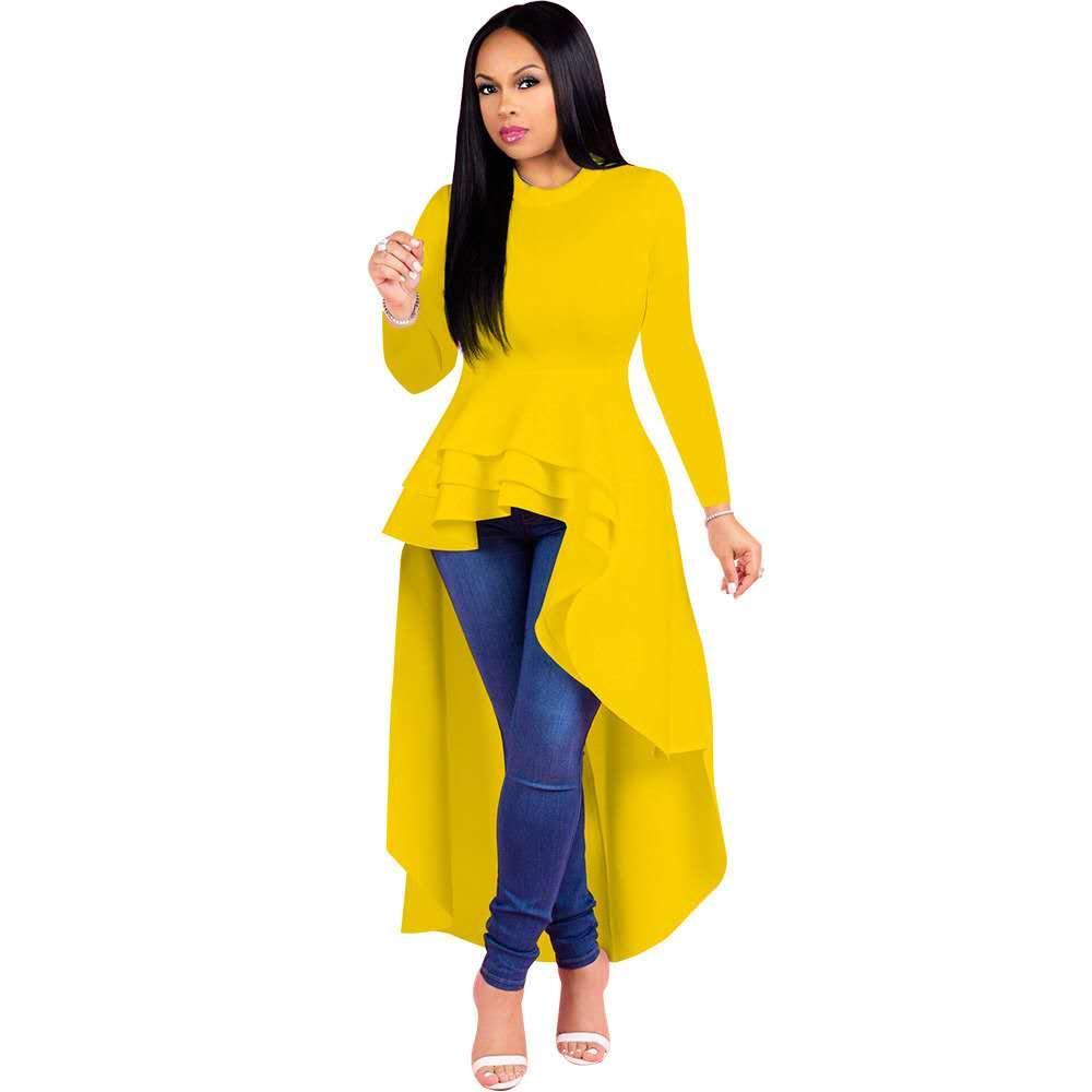 Women Fashion Plus Size M-3XL Long Sleeve Dress Top Christmas Party Cute Irregular Hem Club Trendy Western Wear 8