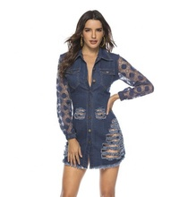 Sexy Dentelle Robe En Denim Poche trou t-shirt
