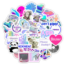 50 шт. Vaporwave художественная наклейка для ноутбука, компьютера, скейтборда, багажа, холодильника, ноутбука, игрушечный шлем, мультяшная наклей...(Китай)