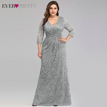 Кружевные длинные платья русалки размера плюс для выпускного вечера 2020 Ever Pretty EZ07682NB элегантные женские вечерние платья с v-образным вырезом ...(Китай)