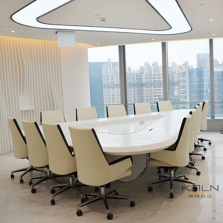 Triangular white solid wood conference table for boardroom customized greenguard certification