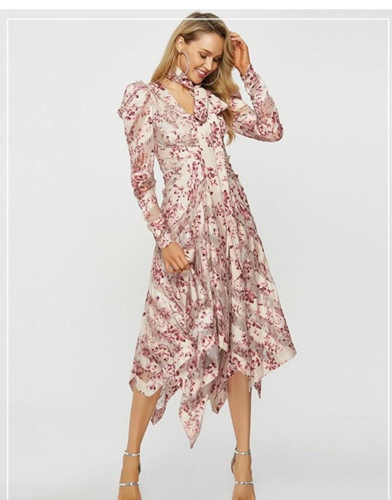 Autumn Best selling High quality ladies irregular casual <strong>dress</strong> women floral print maxi <strong>dress</strong> women long sleeve <strong>dress</strong>