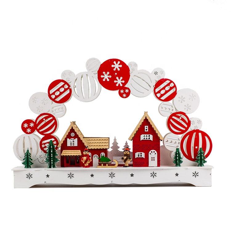 לייזר לחתוך עץ מקורה LED מואר חג המולד נר גשר קישוט אור עם נע פירמידת וחורף ילדים