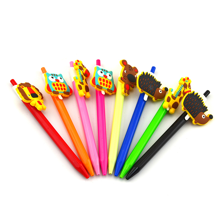 High quality super cute customized design plastic ball pen  with PVC topper for promotion
