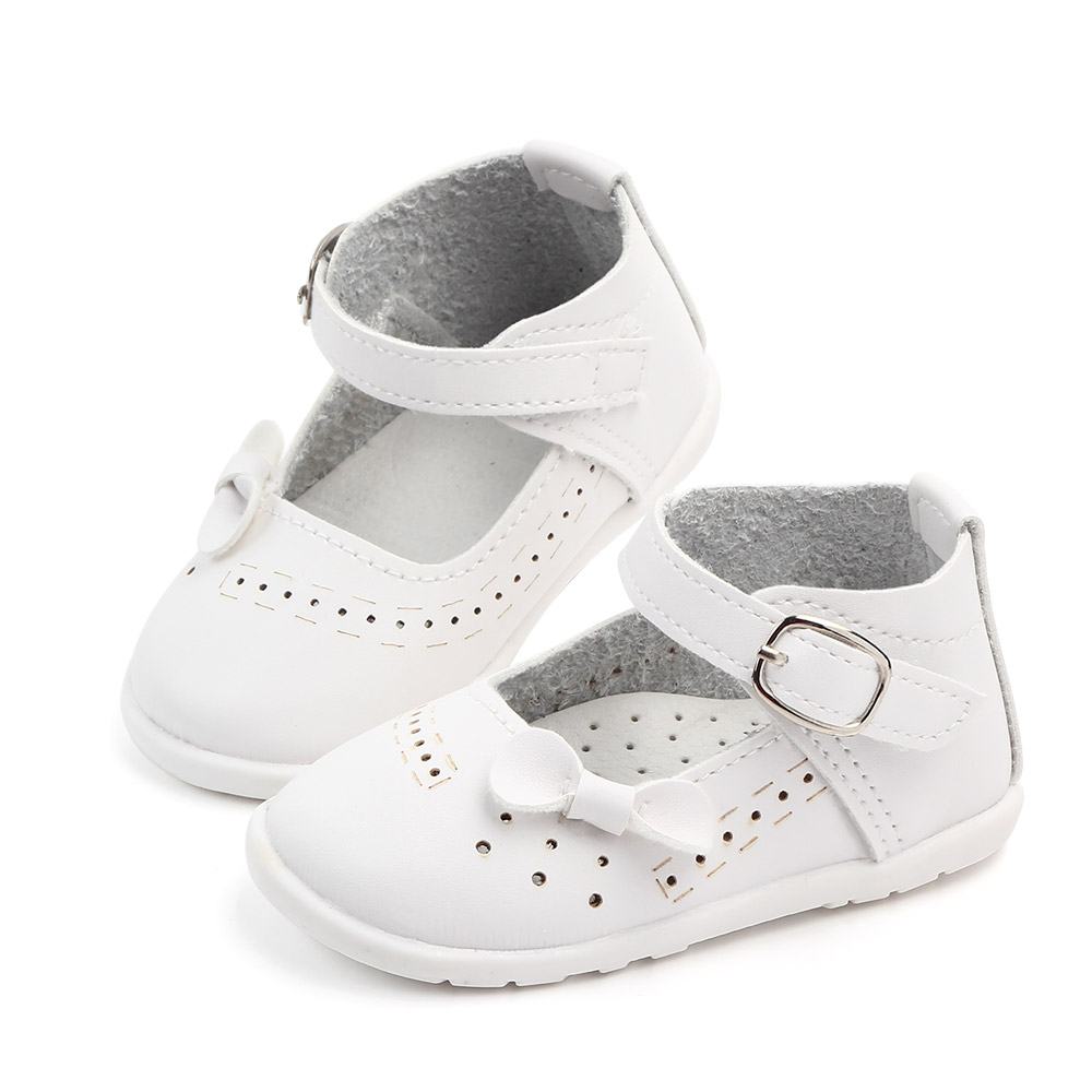 Hot selling soft rubber white bow PU breathable baby shoes kids