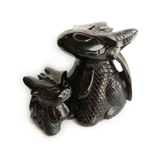Natural Black Obsidian Animal Crystal Carving How To Train Toothless Dragon Statue For Gift
