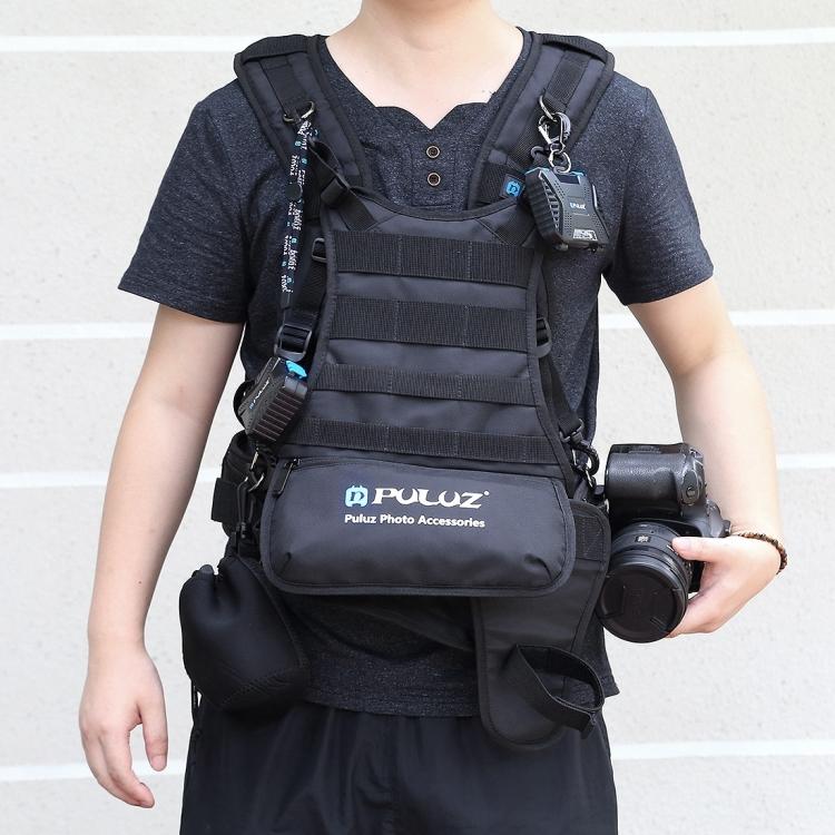 High quality PULUZ Multi-functional Bundle Double Shoulder Padded Strap Waist Belt Holder Holster for SLR / DSLR Cameras