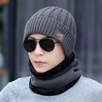 Custom embroidery winter beanie winter knitting knitted hats men hat and scarf set