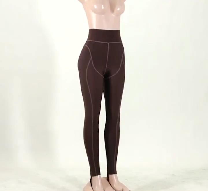 الأزياء خط تصميم الملابس الرياضية النساء عالية الخصر تجريب الصلبة اللون طويل طماق سراويل رياضية