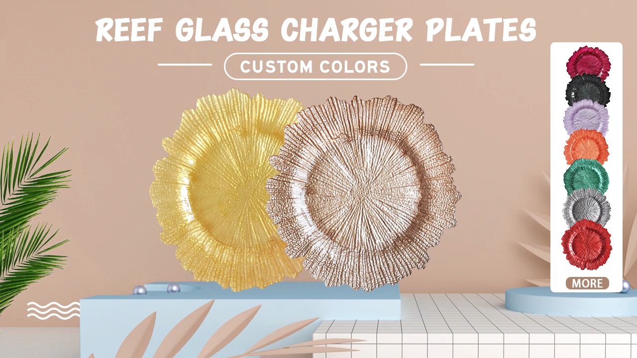 rose gold/teal/white/red/coral/turquoise/silver colorful coral reef charger plates with custom printed