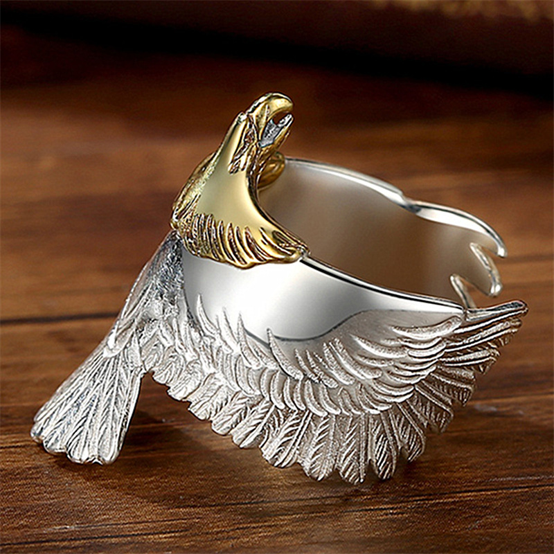 JJH014 Trade Assurance 2020 New Design Fashion Double Colour Eagle Ring Overbearing Eagle Animal Opening Men's  Ring