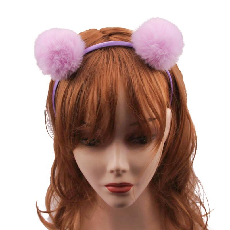 חמוד פאזי Pompom כדור סרט קוריאני ארנב פו פרווה שיער אבזרים