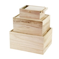 Nature color set 3 paulownia wooden box with sliding lid