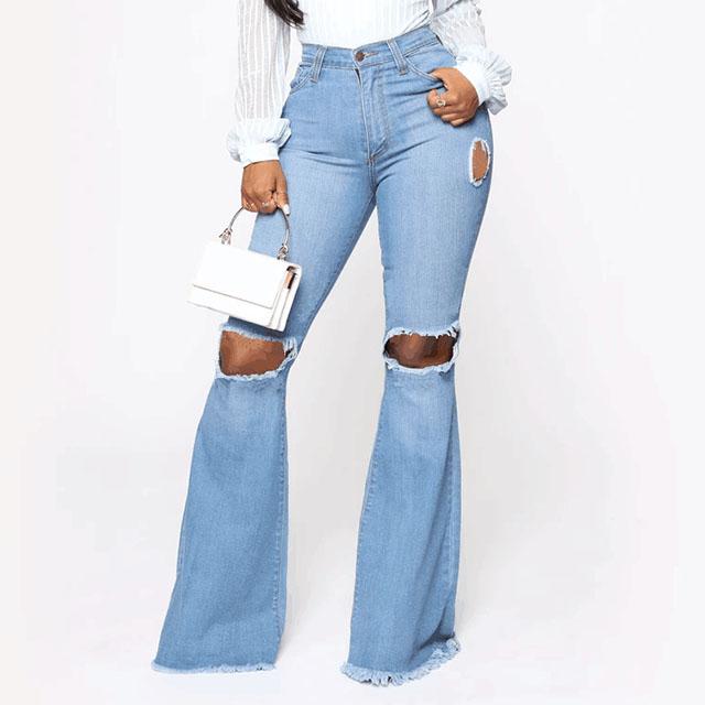 Pantalones Vaqueros Rasgados Con Agujeros Para Mujer Pantalon Acampanado Pierna Ancha Cintura Alta Buy Denim Mujer Vaqueros Product On Alibaba Com