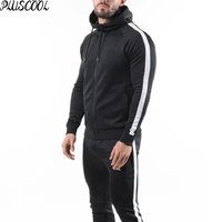 latest design custom training jogging wear mens black tracksuit set
