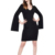 Women Black Dress Split Sleeves V Neck Bodycon Mini Dresses