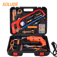 SOLUDE 101 Piece Impact Drill Household Hand Tools Kit With Plastic Toolbox Storage Case