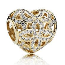 Золотой Цвет Блеск соты кружевной веер любви и благодарности матери сердце талисманы Fit Pandora браслет серебряные бусины 925 пробы(Китай)