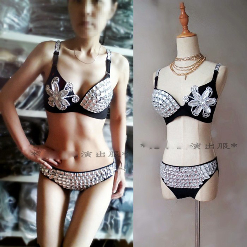 Sexy party underwears New night sexy rhinestone female bikini DJ costume DS silver bar pole <strong>dance</strong> costume
