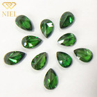 Green zirconia with very uniform color 6x9mm pear cut Synthetic emerald zircon For jewelry accessories